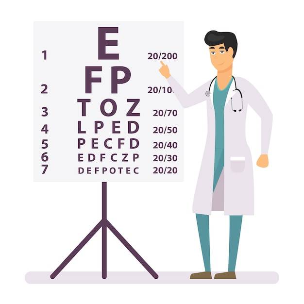 People in hospital uniform standing near eye test chart. Premium Vector