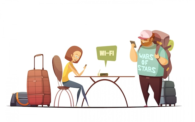 People in hostel interior design concept with man and woman reading online information in their phon Free Vector