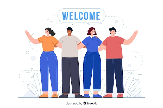 People hugging each other with welcoming greeting Free Vector