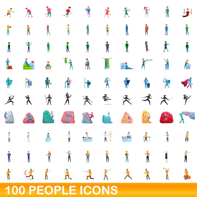 People icons set, cartoon style Premium Vector