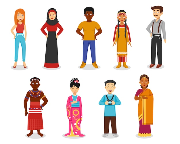 People icons set Free Vector