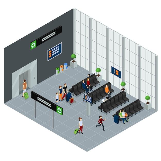 空港等角投影図の人々 無料ベクター