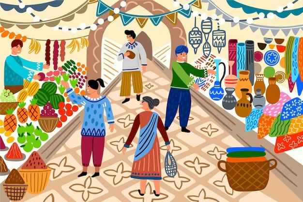 Люди на арабском базаре Бесплатные векторы