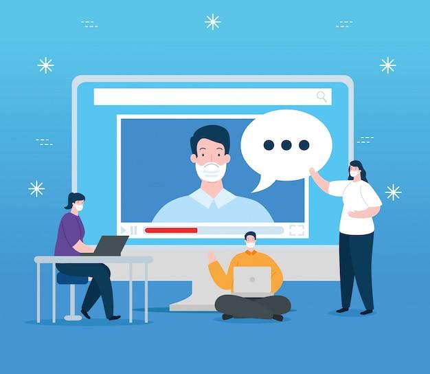 Люди в образовании онлайн с компьютерным дизайном иллюстрации Бесплатные векторы