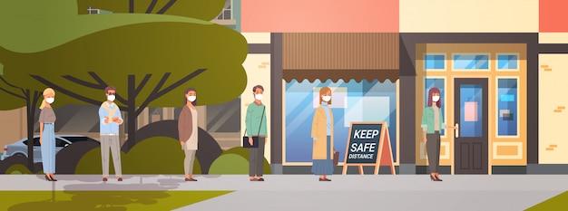 顔の人々はcovid-19を防ぐために距離を保ってコーヒーショップに立っている列のキューをマスクします Premiumベクター