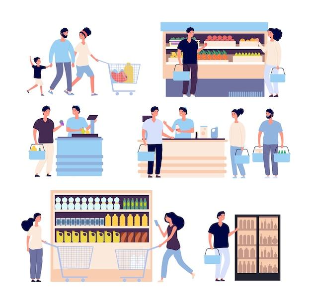 食料品店セットの人々 Premiumベクター
