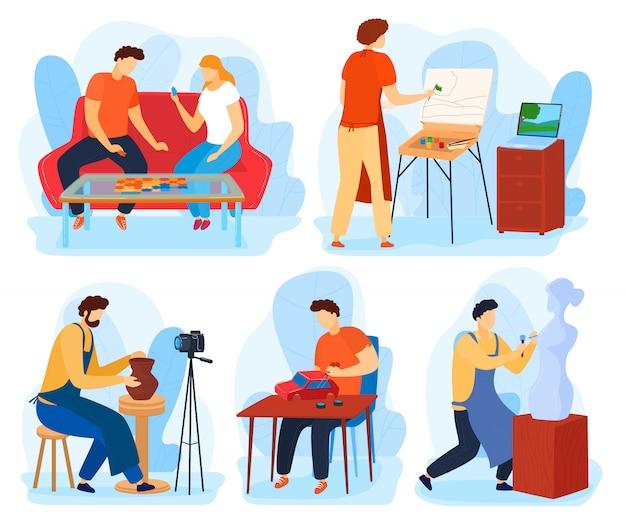 家庭の趣味のイラストセットの人々、漫画のアーティストキャラクターがペイント、クラフト、または彫刻を作成し、友人がボードゲームをプレイ Premiumベクター