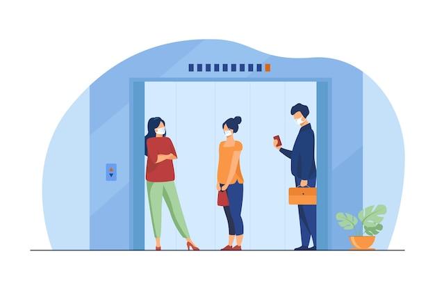 엘리베이터 택시의 마스크에있는 사람들. 거리, 공공 장소 유지, 평면 벡터 일러스트 레이 션을 전송합니다. 전염병, 안전, 바이러스 무료 벡터