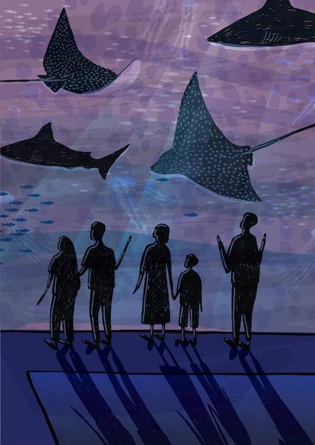 Люди в океанариуме. пары, люди с детьми наблюдают за рыбами, акулами, морскими животными. ручной обращается красочные иллюстрации. Premium векторы