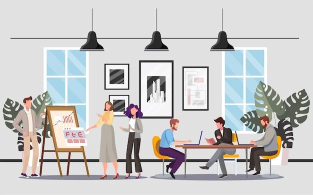 オフィスの人々。同僚がプロジェクトについて議論しています。フリップチャートの近くで話している同僚。職場のビジネスマン。コワーキング広場。チームビルディング、チームワーク、ブレインストーミングのアイデア Premiumベクター