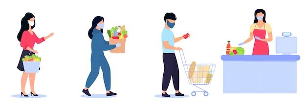 Люди в защитных масках стоят в очереди к кассе, сохраняя социальную дистанцию. безопасные покупки во время карантина эпидемии коронавируса ковид-19 Premium векторы