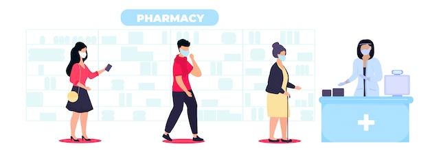 Люди в защитных медицинских масках покупают лекарства в аптеке, соблюдая социальную дистанцию. безопасные покупки во время карантина эпидемии коронавируса ковид-19 Premium векторы