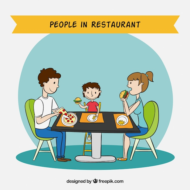People in restaurant background