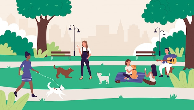 Люди в летнем открытом городском парке иллюстрации. мультфильм счастливая женщина-мужчина друзья веселятся на пикнике, активный персонаж гуляет или играет с собакой, летний отдых на выходных Premium векторы