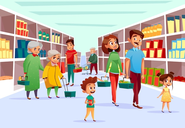 People in supermarket. Flat cartoon of family\ mother, father and children