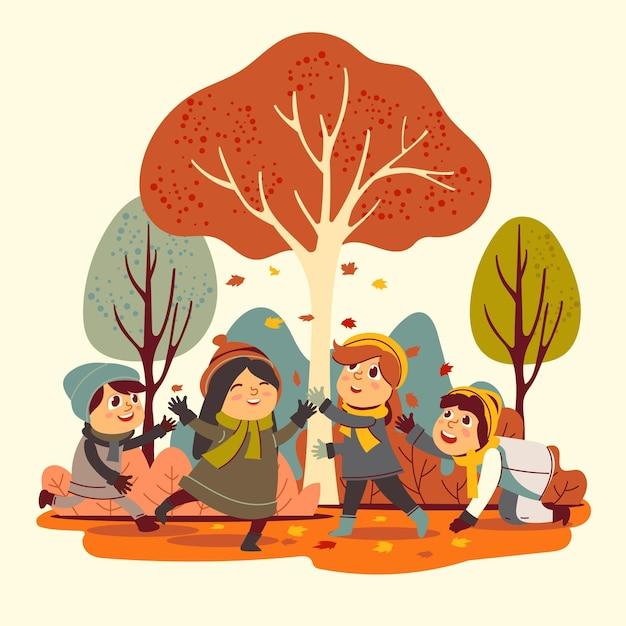 秋の公園のイラストの人々 無料ベクター