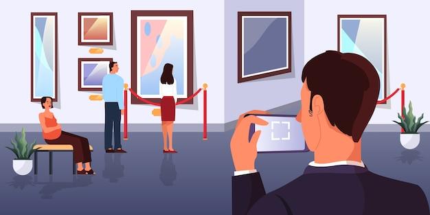 Люди в музее. интерьер картинной галереи. картина на стене, знаменитая выставка. старый шедевр. иллюстрация Premium векторы
