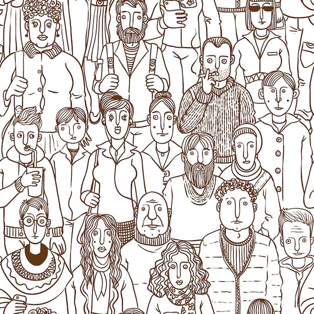 Люди на улице. вектор бесшовные рисованной Premium векторы