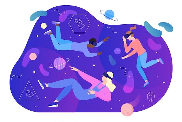 Люди в виртуальной реальности иллюстрации, мультяшный плоский мужчина женщина персонажи в очках vr очки гарнитура, плавающие в пространстве абстрактного сна, изолированных на белом Premium векторы