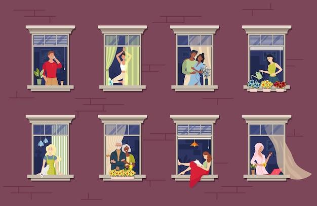 Люди в оконных рамах. пребывание дома концепции. соседи, которые живут в квартирах. Premium векторы