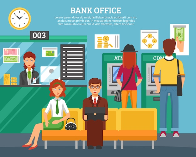 People inside bank office design concept Free Vector