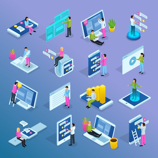 People interfaces isometric set Free Vector