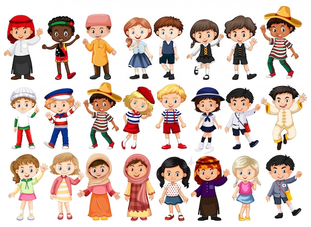 People and international costume Premium Vector