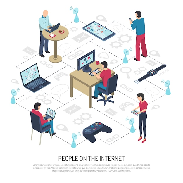 People on internet isometric illustration Free Vector