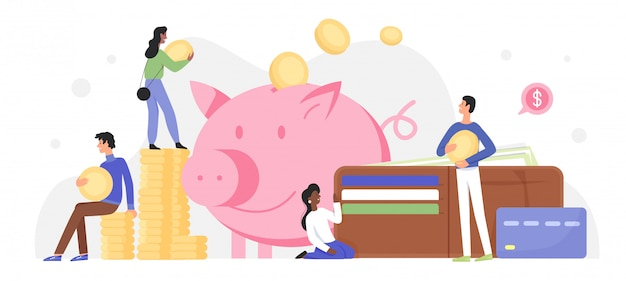 People invest money in piggy bank  illustration. cartoon  tiny characters investing golden coins and banknotes in happy pig moneybox, success business investment concept  on white Premium Vector