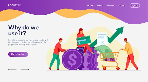 People investing their money in venture fund landing page template Free Vector