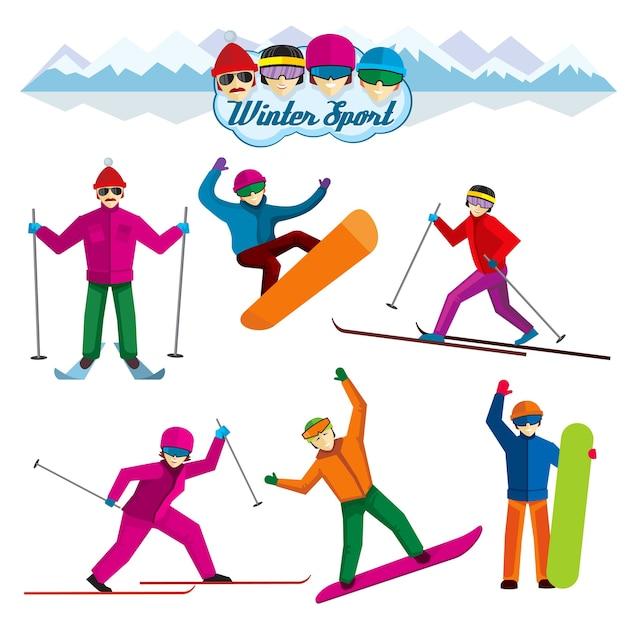 Persone coinvolte negli sport invernali. vacanza donna e uomo, sciatore e tempo libero, illustrazione di ricreazione estrema. caratteri vettoriali in stile piatto Vettore gratuito