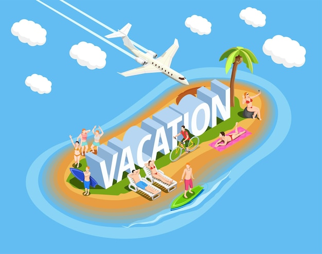 People on island during beach vacation isometric composition on blue  with plane in sky Free Vector