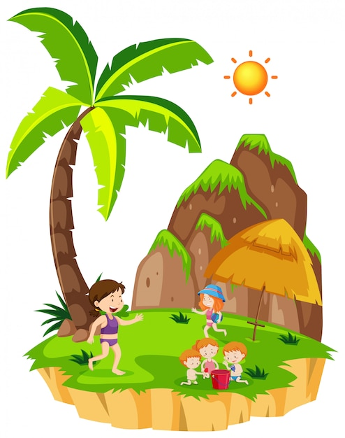 People at the island Free Vector