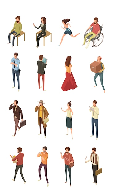 People isometric icons set isolated vector illustration Free Vector
