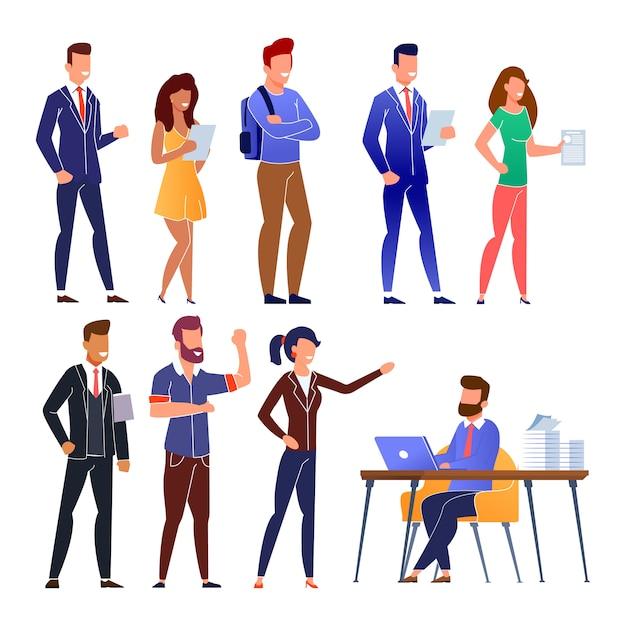 People job candidate queue on interview cartoon Premium Vector