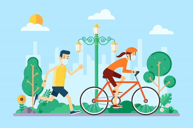 People jogging and riding bicycle wearing mask because of the coronavirus and the new normal Premium Vector