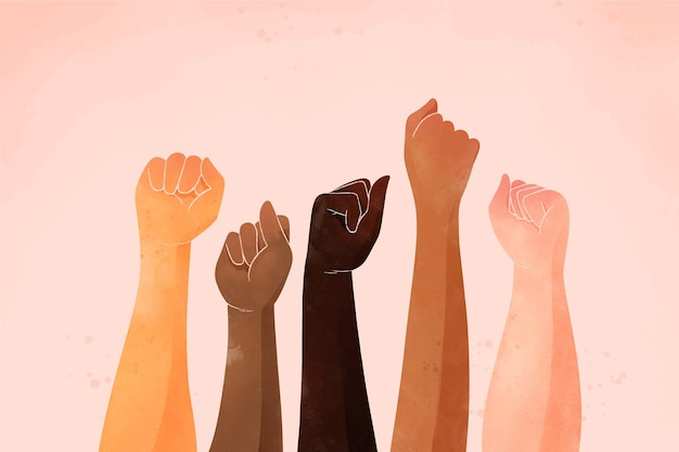 People joining the stop racism movement Free Vector