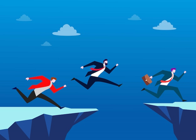 People jump over the chasm. leadership business concept illustration Premium Vector