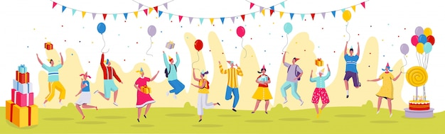 People jumping at birthday party celebration,  illustration. funny cartoon characters in modern flat style, birthday presents. Premium Vector