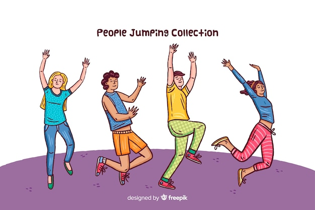 People jumping collection Free Vector