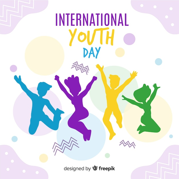 People jumping silhouette youth day background Free Vector