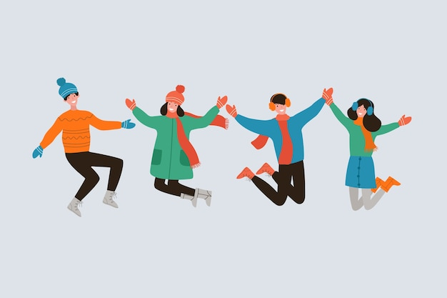 People jumping in winter clothes Free Vector