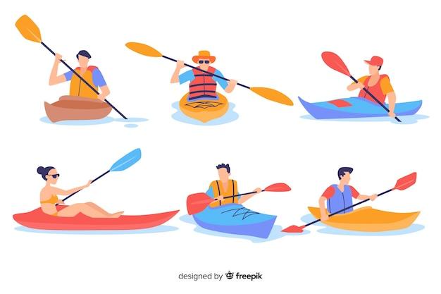People kayaking Free Vector