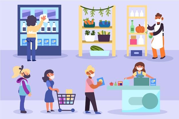 Люди держат дистанцию при покупке продуктов Бесплатные векторы