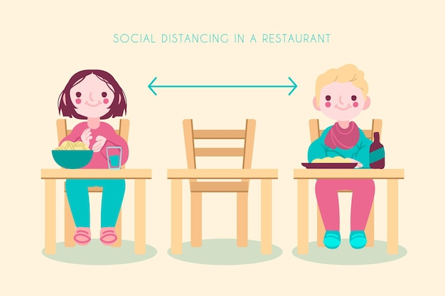 People keeping one empty table between them Free Vector