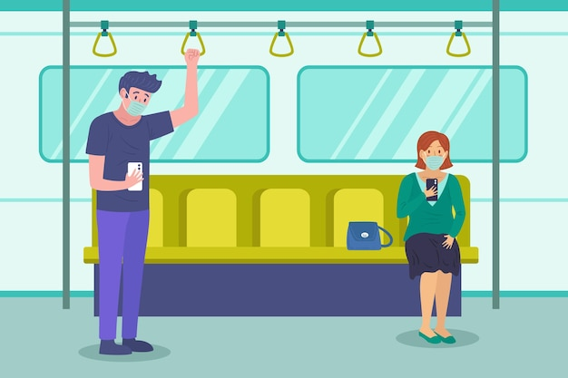 公共交通機関で距離を保つ人々 無料ベクター