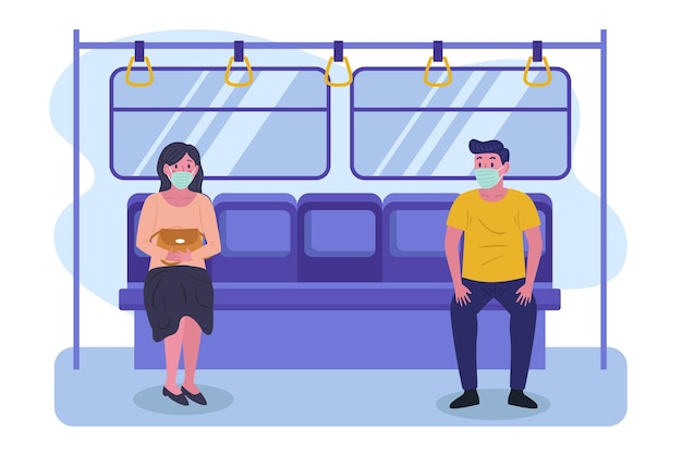 People keeping their distance in subway Free Vector