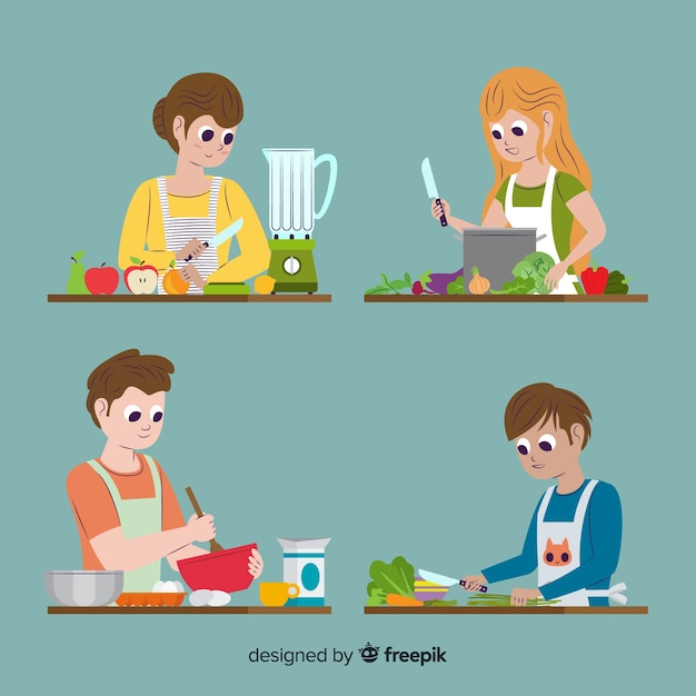 People at the kitchen collection Free Vector