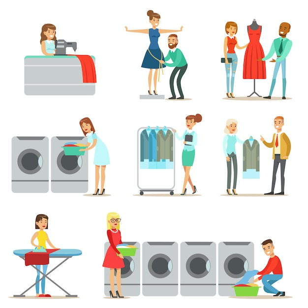 People at the laundry, dry cleaning and tailoring service collection of smiling cartoon characters Premium Vector