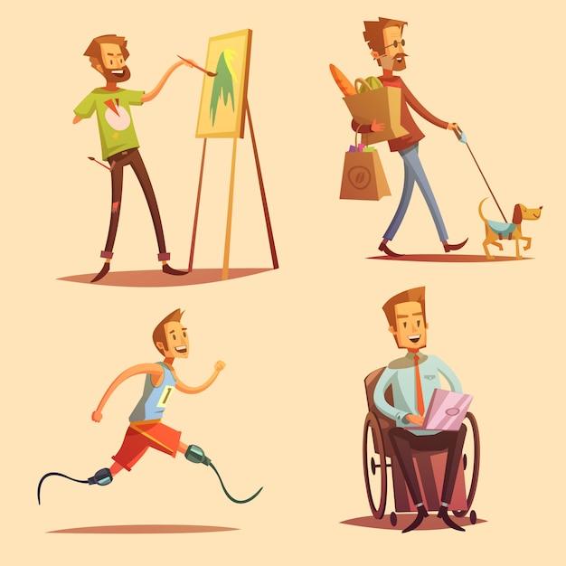 People leading happy life retro cartoon flat icons set Free Vector